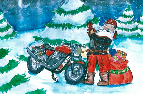 Santa on Motorcyle